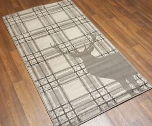 Modern Approx 5x2ft6 80cmx150cm Woven Top Quality Stag checks Dk Grey Rugs/Mat